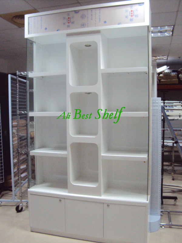Wooden display cabinets nice looking modern design with acrylic and lights on top, under cabinet for storage on sale(China (Mainland))
