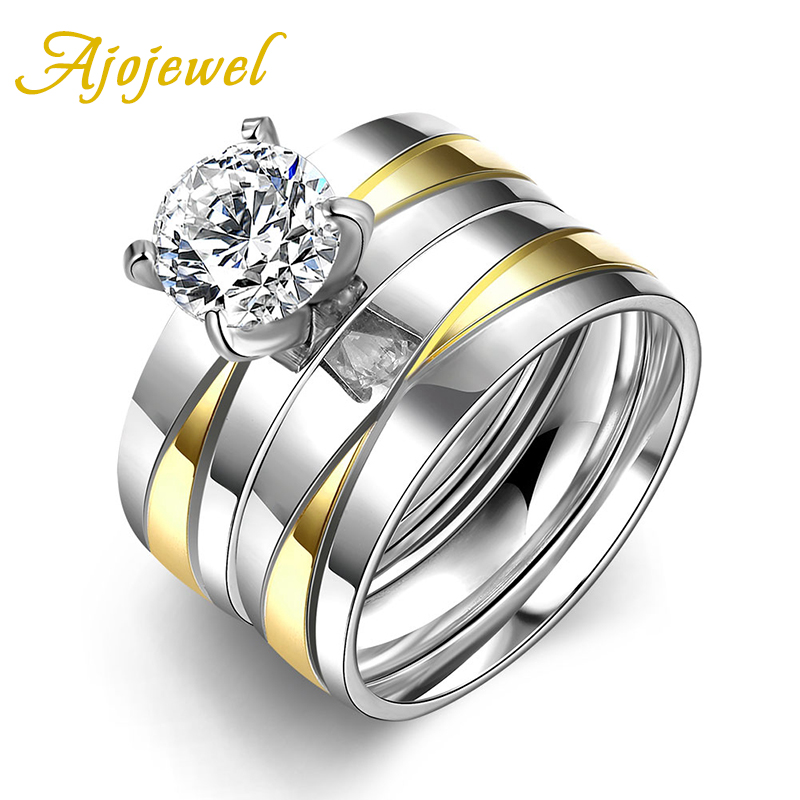2016 Elegant Korean Style Ajojewel Double Color Stainless Steel Brand Zircon Wide Two Pieces Rings Set For Women(China (Mainland))