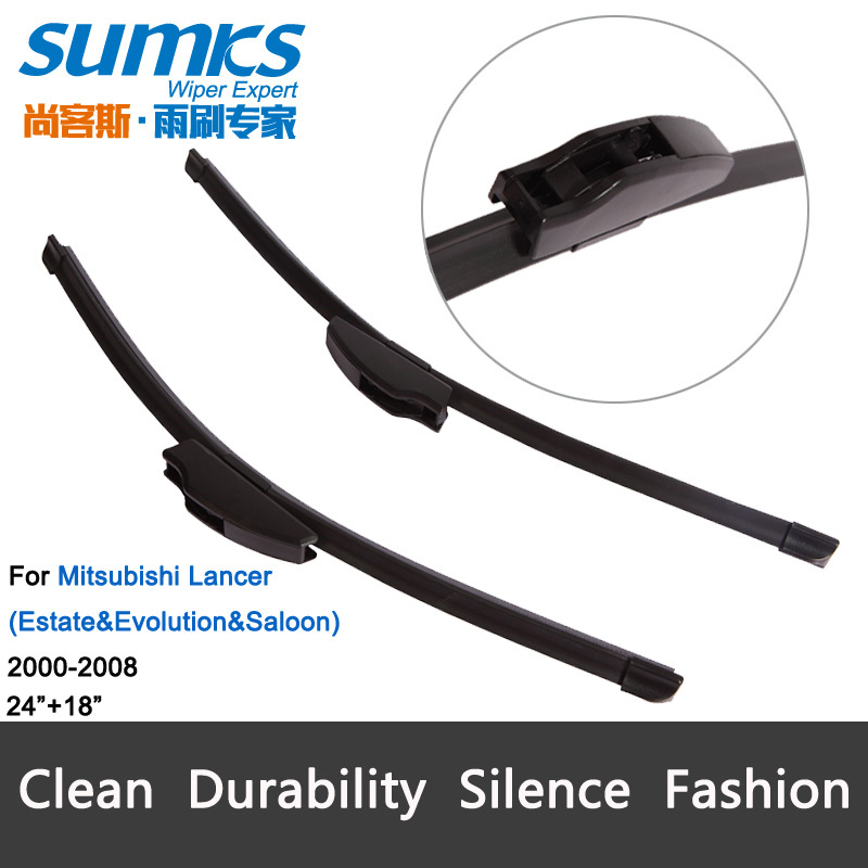"""Car Wiper blades for Mitsubishi Lancer (2000-2008), 24""""+18"""", rubber, clean windscreen, Car accessory, freeshipping(China (Mainland))"""