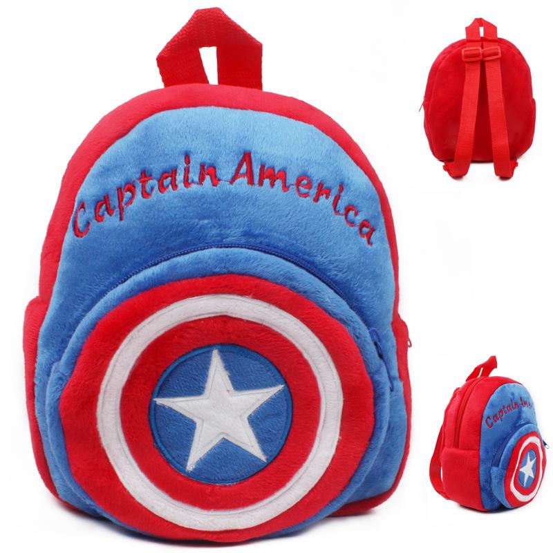 Die Neueste Hip-Hop Kinder 23*21*8 (cm) Captain America Cartoon Kind Schultasche männlich-weibliche Kind Taschen Plüsch Rucksack(China (Mainland))