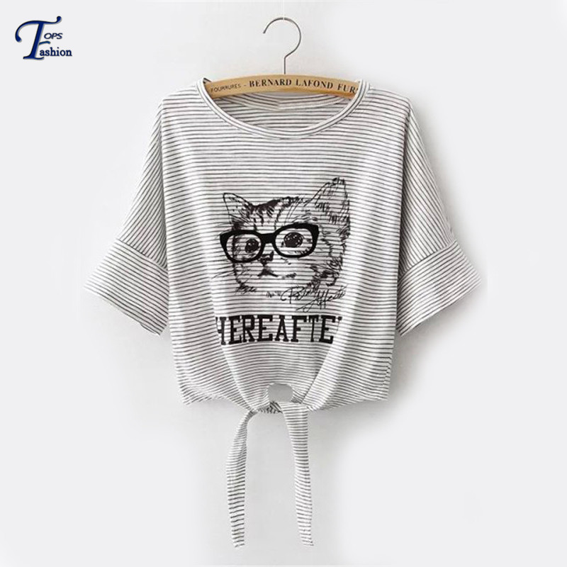 Women Summer Hot Tops Cute Korean Style Tees Grey Striped Cat Printed Knotted Short Sleeve Round Neck Cropped T-ShirtОдежда и ак�е��уары<br><br><br>Aliexpress