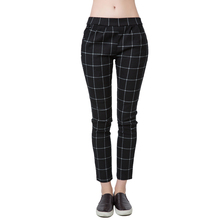 2016 Spring New Fashion Women Trousers Checks Plaid Print Elastic Waistband Slant Pockets Slim Fit Vintage Pants Black(China (Mainland))