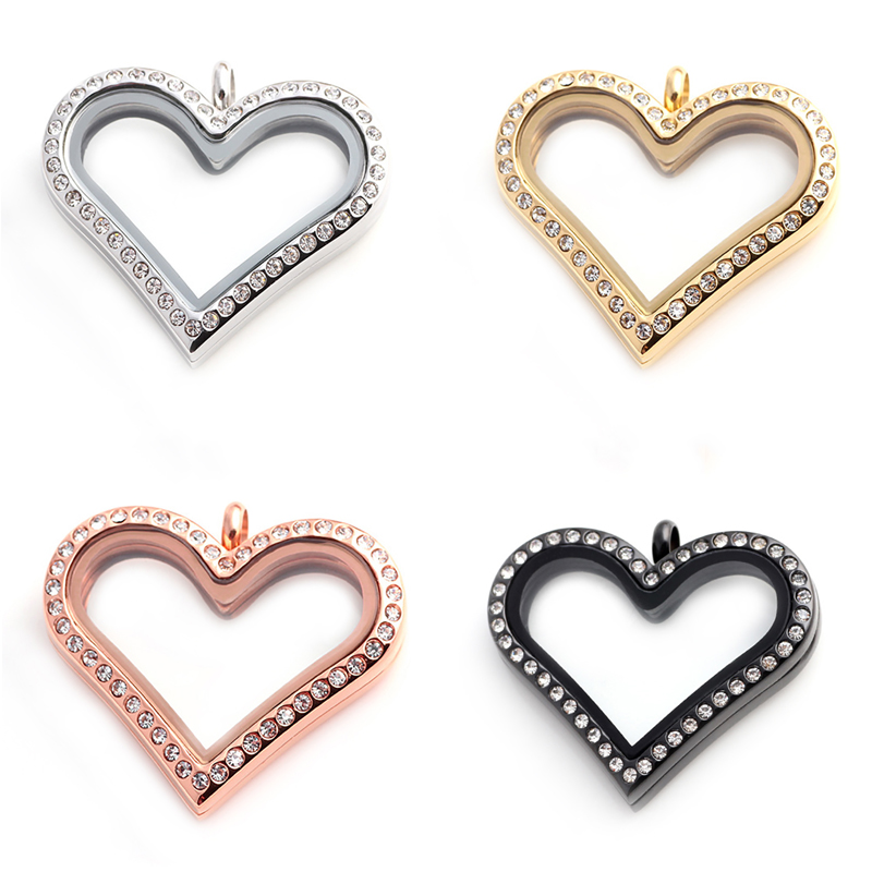 5pcs 2016 Newest High quality  Stainless Steel Locket Rhinestone Floating Heart Locket Magnetic  Glass Locket Pendant<br><br>Aliexpress