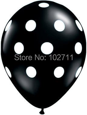 100- Latex Black with White Polka Dot Balloons birthday party supplies prom homecoming anniversary wedding showers bridal bacher(China (Mainland))