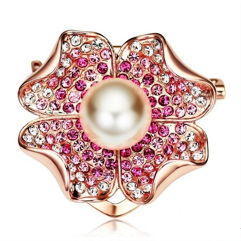 24K Rose Gold Plated Austrian Crystal Pearl Flower Brooch High Grade Fashion Accesorries Free Shipping
