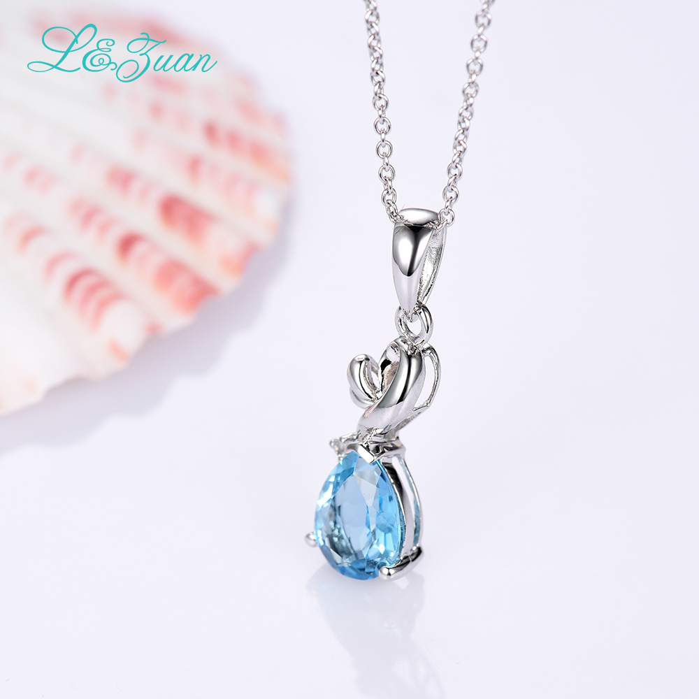 l&zuan 925 sterling silver natural 1.617ct Topaz blue stone Necklace & Pendant for woman gift with silver chain