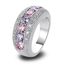 ผู้หญิงแหวนแฟชั่นสีชมพูบุษราคัมและพลอยสีม่วง925แหวนเงินวงขนาด6 7 8 9 10 11 12รอบตัดใหม่เครื่องประดับของขวัญขายส่ง