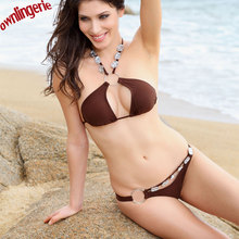 sexy brown hot sale bikini bra set,swimwear bathing suit bra set,beaded crystal halter strap without pad cup