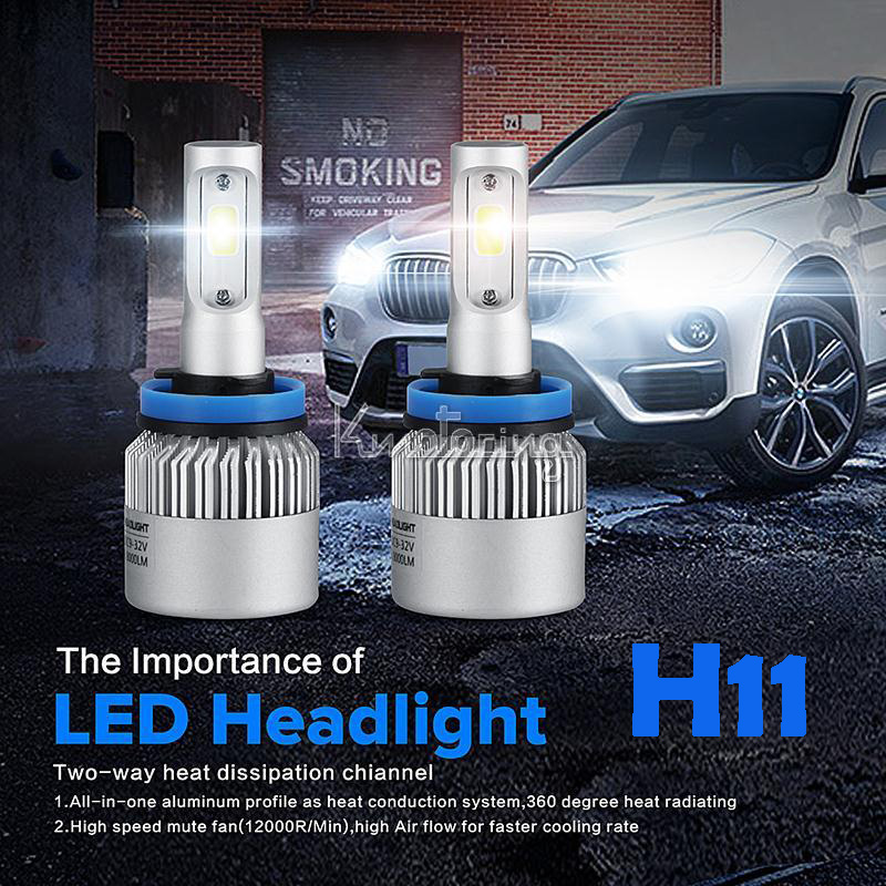 H11 COB Single beam LED Car Headlight Bulb Pure White 6500K 8000LM Driving Light All-In-One 72W Fog Head lamps 12v 24v Silver(China (Mainland))