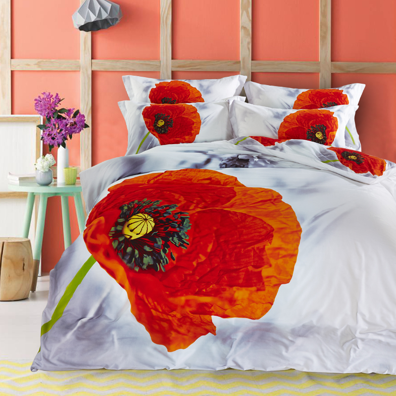 3D Floral Print Red Poppy and Grey Daisy Designer Bedding Set Pure Cotton Textile Bedlinen Pillowcase Duvet Cover Set Queen Size(China (Mainland))