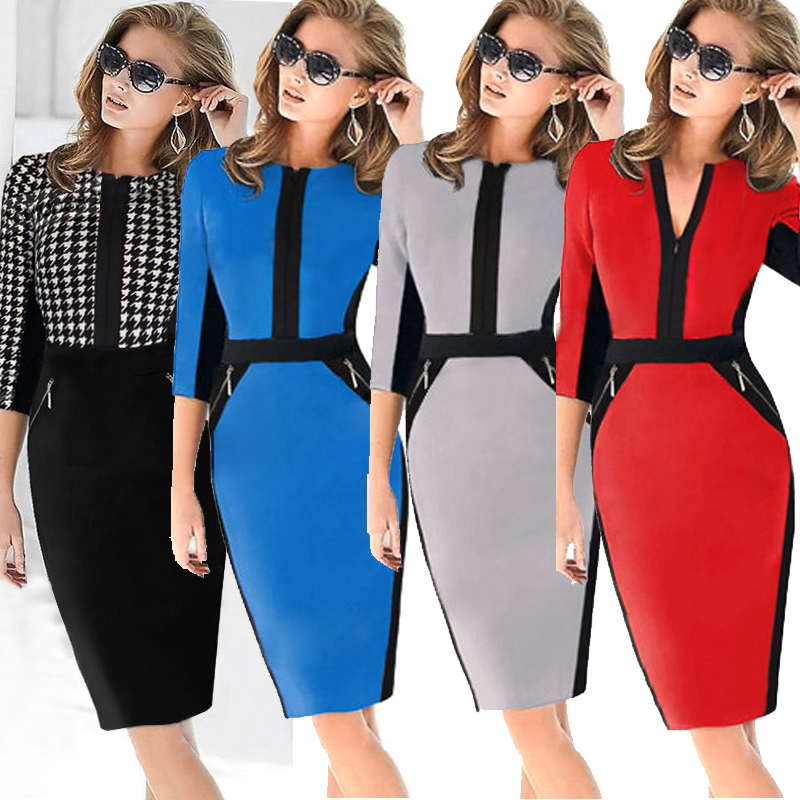 2015 Women Autumn Wear To Work Elegant Patchwork Stretch Tunic Business Casual Office Formal Party Pencil Sheath Dress 3223(China (Mainland))