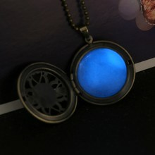Steampunk Necklace Magical Fire Fairy Glow In The Dark Necklace Aqua Large Locket 2015 Brand Women