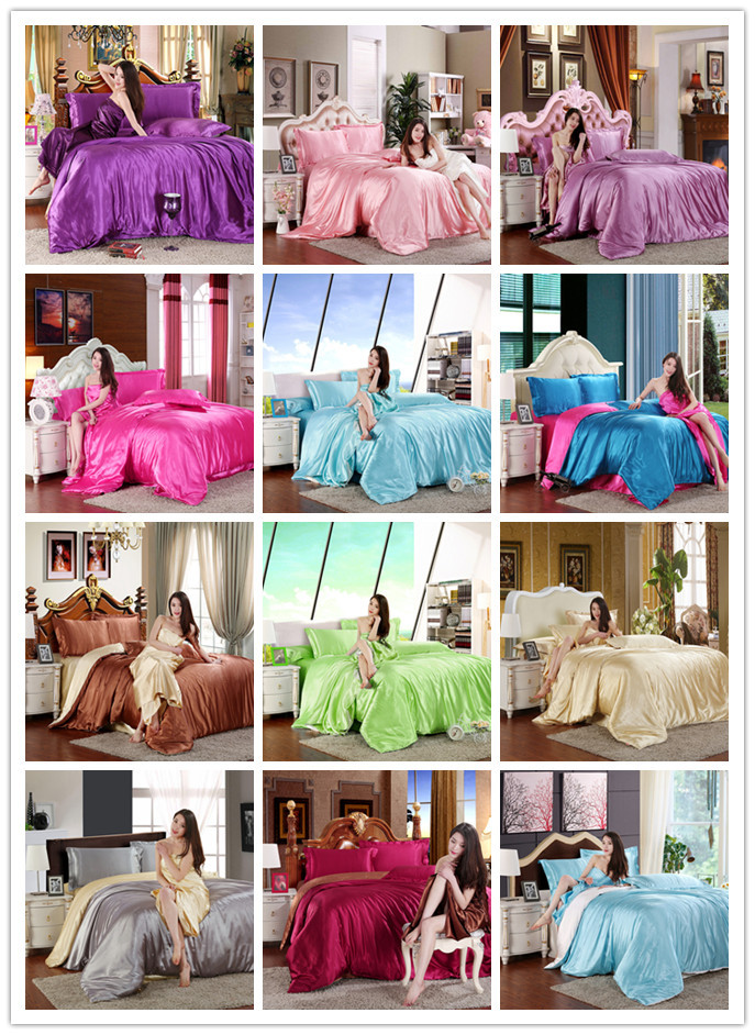 2016New Style 10% pure satin silk bedding set King size bed set,bedclothes,duvet cover flat sheet pillowcases Wholesale(China (Mainland))