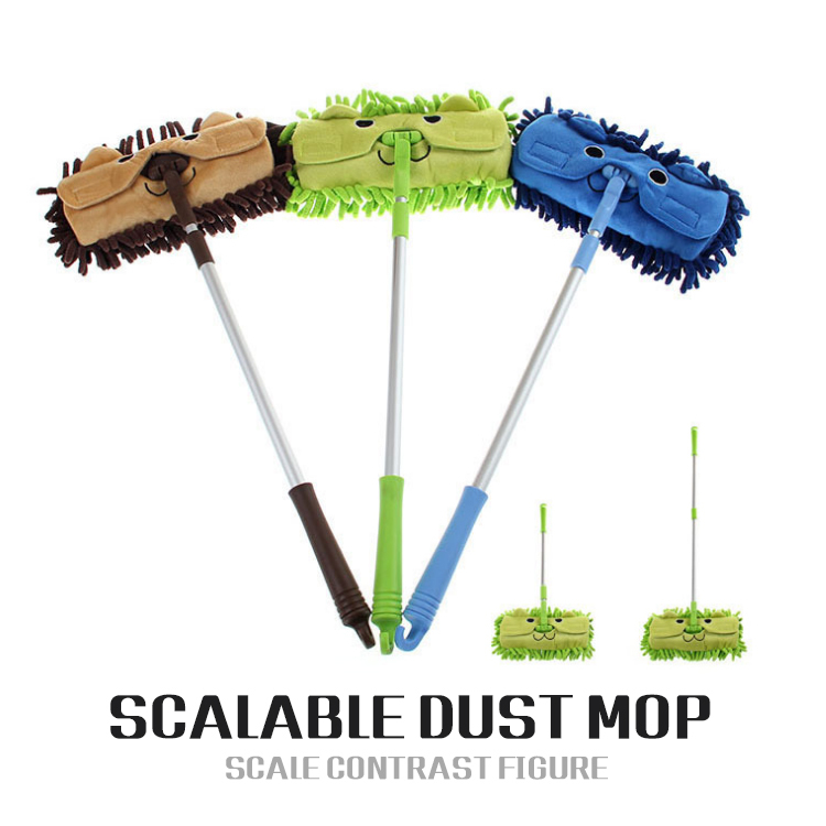 Mini mop Quality handy easy mops floor / car/ window cleaning new chenille telescopic removable dust mop Chenille cartoon(China (Mainland))