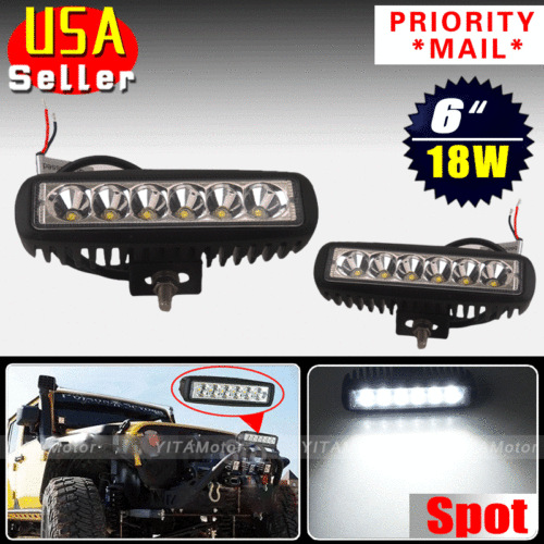 2Pcs 18W Offroad Spot Beam Driving Fog Work LED Lights HID White 12V 24V Bar Lamp Driving SUV 4WD for Car Engineering vehicles(China (Mainland))