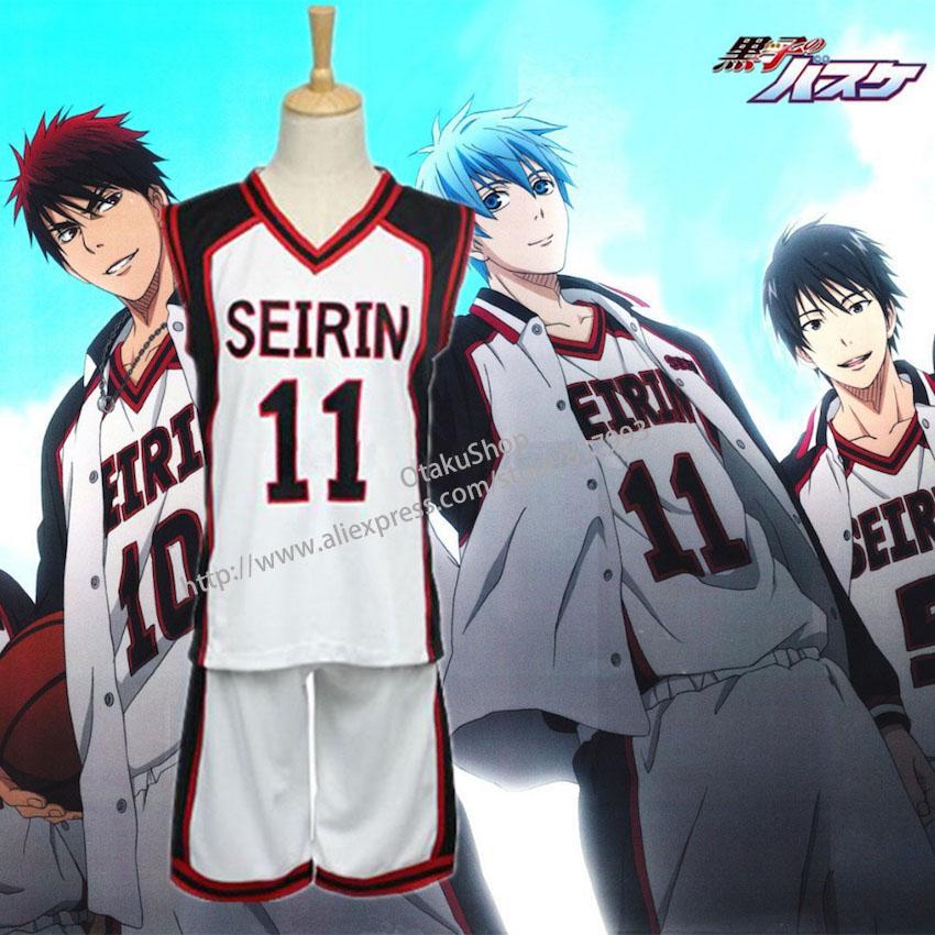 Kuroko no Basuke Basket basketball Jersey SEIRIN suit men uniforms boys sport clothes Number 4 7 10 11 cosplay costume(China (Mainland))