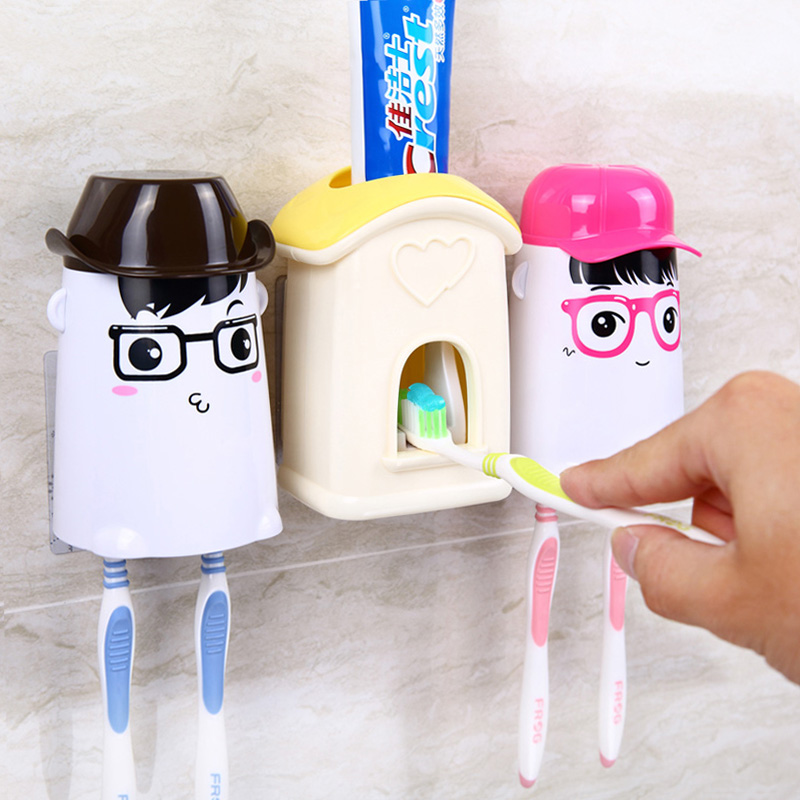 Lovely cartoon automatic toothpaste dispenser toothbrush holder suction cup toothbrush holder(China (Mainland))