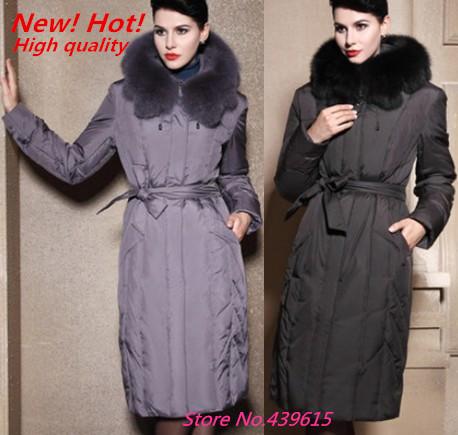 Plus size parka women's winter down jacket long design thicken fox fur collar down jacket winter jacket women brand down coat(China (Mainland))
