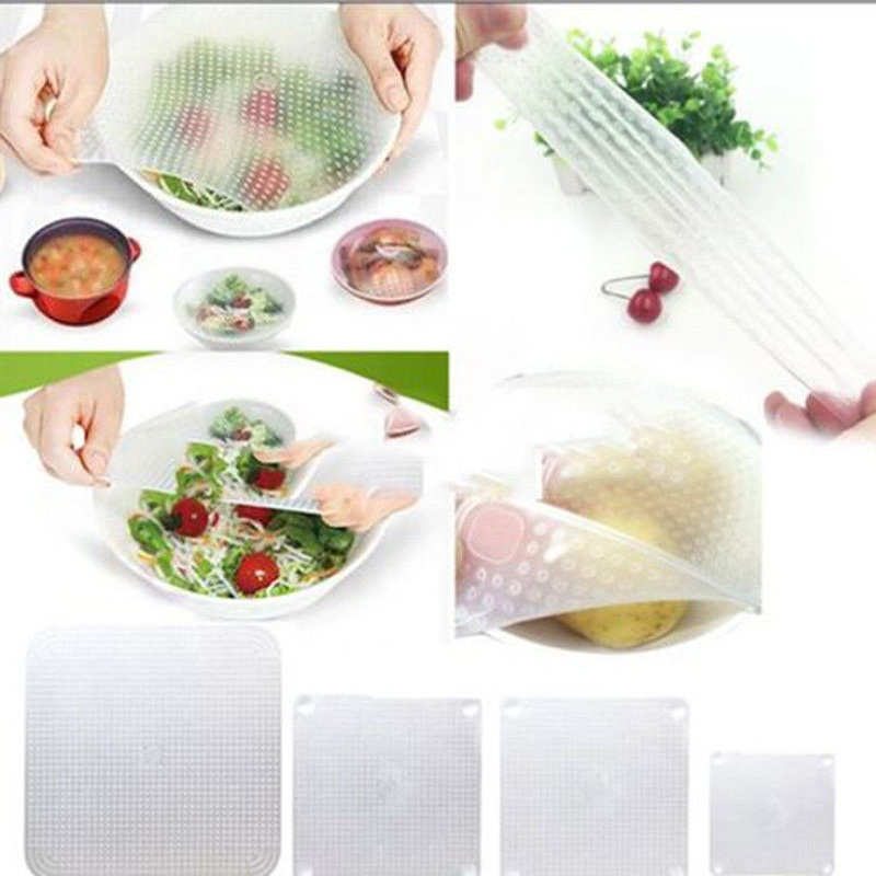 4* Silicone Wraps Seal Cover Transparent Stretch Cling Film Food Fresh Keep Kitchen Tools Keep food fresh(China (Mainland))