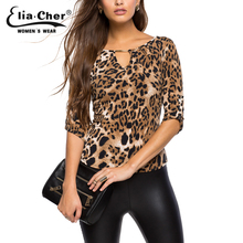 Blouse Women Tops 2016 Half Sleeve Women Shirt Elia Cher Plus Size Casual Women Clothing Lady Leopard Print Blouses Blusas 8231(China (Mainland))