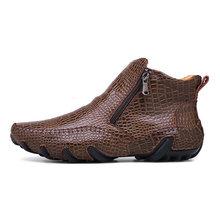 2019 Fashion Hot Sales Kwaliteit Lederen Mannen Laarzen Winter warm casual schoenen Mannen Schoeisel Rits Mannelijke Enkel Zwarte laarzen grote maat 47(China)