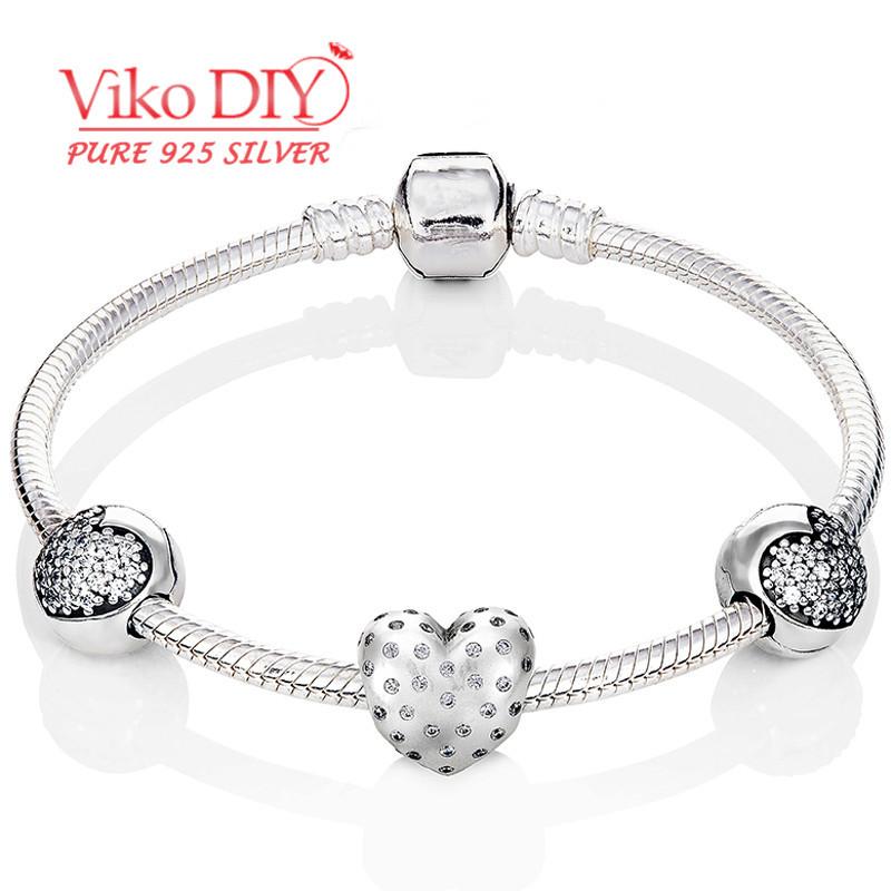 Best Selling Bracelet Manchette Cubic Zirconia 925 Sterling Silver Charm Heart Braclets For Women Diy Viko Jewelry DIY05