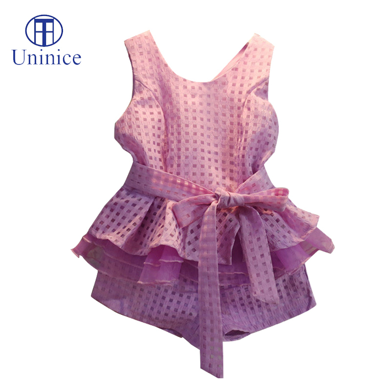2016 new brand summer style girls clothing sets tracksuit plaid vest +short sportswear suit 2-7T  -  Teenage store(drop shipping store)