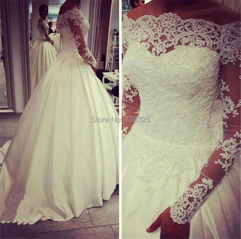 Romantic Women Long Sleeves Wedding Dress Sheer Lace 2015 Ivory Line Custom Made Free Bridal Dresses Gowns Vestidos - iLoveWedding Store store