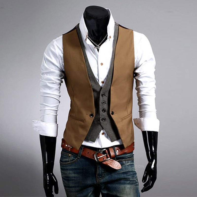 Fashion Suit Vest Men Slim Fit New Gilet Mens Waistcoat Brand Clothing Chaleco Hombre Sleeveless Jacket Colete Dress Vest Men(China (Mainland))