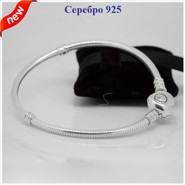 925-Sterling-Silver змея цепи клип стартер любовь в форме сердца браслет DIY ювелирных браслеты подходит европейский бренд очарование