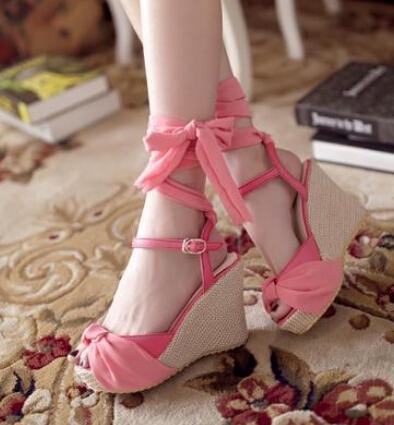 Sweet soft 2014 women's open toe shoes wedges platform plus size fashion leg bandage flat sandals - kenstone store