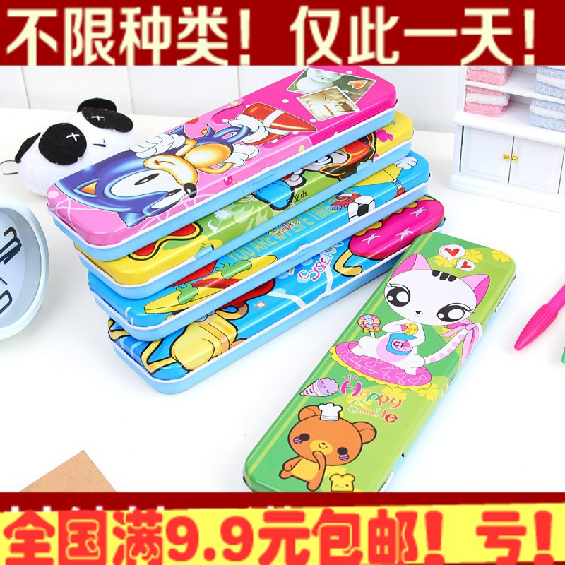 Double layer metal stationery box tin cartoon pencil case pencil box pencil case stationery box 80g