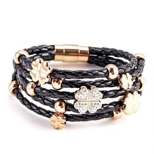 2012 Fall Winter New Listing Genuine Leather Bracelet,Stylish 5 Surround Circles Leather Chain,18K Light Gold Plated Lucky Leafs