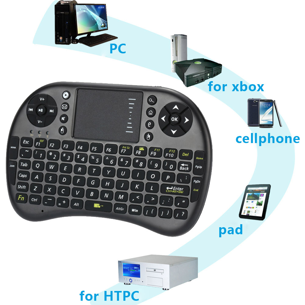 2.4G Mini Wireless Gaming Keyboard Touchpad Fly Air Mouse Built-in Battery Remote Control for PS3 XBox360 Android PC Windows TV(China (Mainland))
