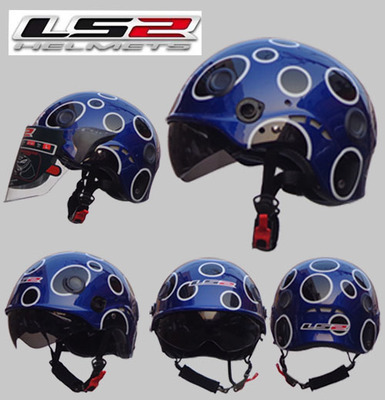 Free shipping LS2 OF101 motorcycle helmet half helmet wear and washable lining double mirror  transparent red /Way of the Dragon