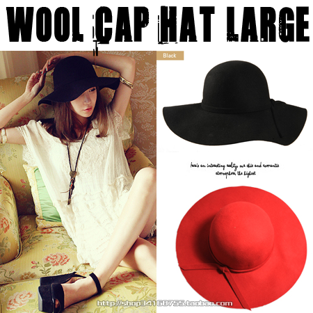Fashion Ladies hat Vintage Style Retro Wide Brim Wave Bow-knot Band Wool Floppy Hat 5 colors free shipping(China (Mainland))