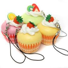 Colorful Bag Charm Squishy Fruit Cream Cupcake Keychain Kawaii Strap Pendant(China (Mainland))
