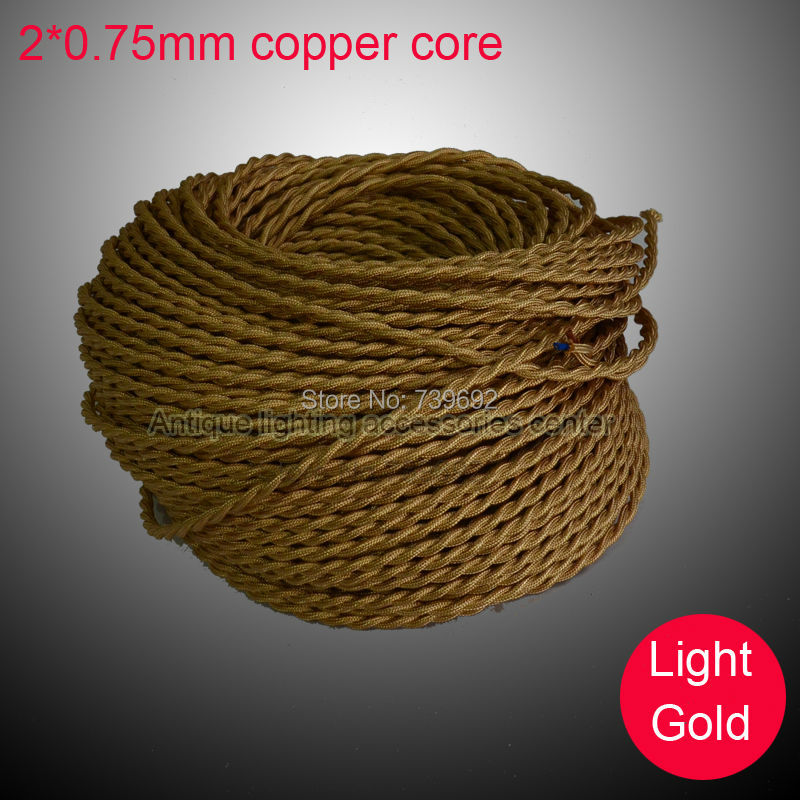 High quality (5m/lot) 2*0.75mm light gold vintage lamp double copper core braided electrical wire for pendant lights(China (Mainland))