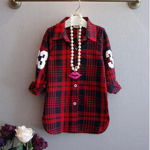 New Fashion Children Girls Casual Long Sleeves Plaid Shirt Blouse Baby Girls Plaid Cotton Clothes Girls Wear 2-7Yrs YY0262