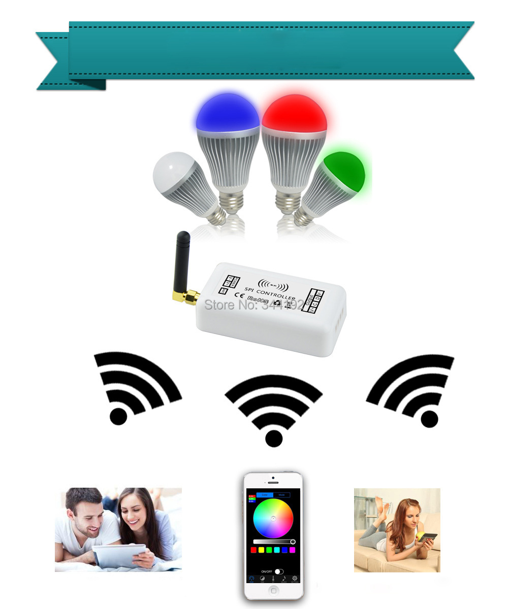 Free Shipping 9W Wifi Control RGBW LED Bulb Light Aluminum+PC Cover E27 Base AC85-265V Controlled by your Mobile Phone(China (Mainland))