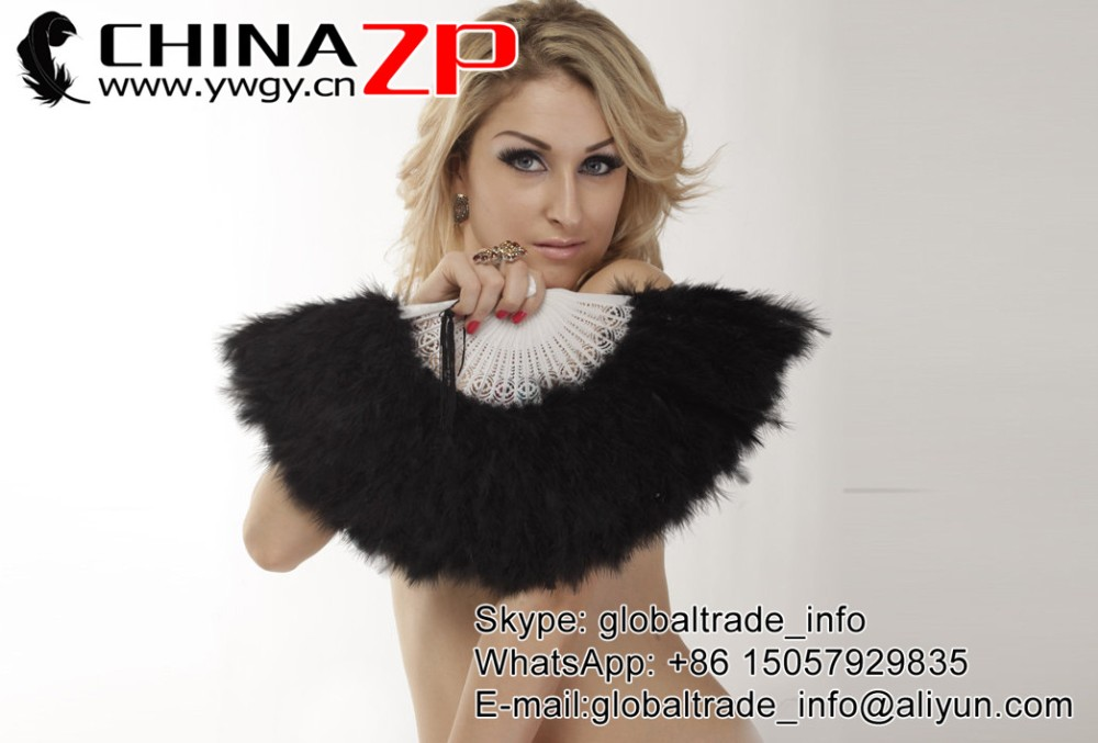 Elegant Black Marabou feather hand fan costume fun act Burlesque decor dancing2