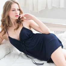2016 Summer Sexy Lounge Nightdress Female V-neck Modal Strap Sleepwear Solid Women's Nighty Sleeveless Sleepshirt Free Shipping