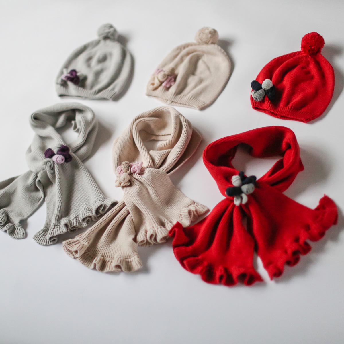 Гаджет  E.mirreh/ imilene 9a11c children hat scarf two piece knitted cotton flower color None Изготовление под заказ