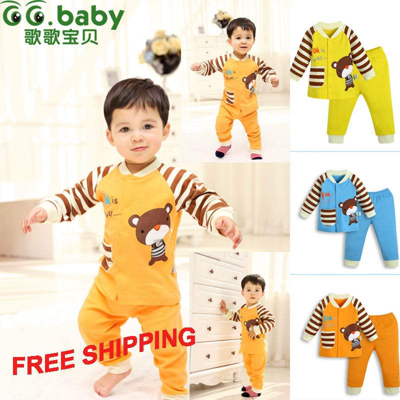 2015 2pcs Cotton Autumn Baby Clothing Set Fashion Bear Striped Newborn Boy Girl Clothes Suit Cheap Bebes Long Shirt Pants Infant(China (Mainland))