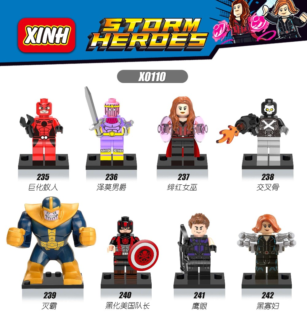 X0110 Super Heroes Minifigures Thanos Ant-Man Hawkeye Falcon Black widow Weapon Building Blocks Legoes Marvel Bricks - COASTLINE TOY store