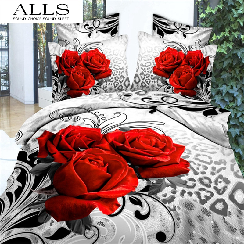 3d bedding set/red rose/polyester/cotton/luxury bed sheet sets/duvet cover,flat sheet,pillow case/king,queen size/romantic(China (Mainland))