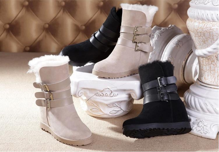 2014 new fashion brand boots fur buckle genuine leather cotton winter warm sheepskin wool snow women's shoes#S0244 - Walking shoes store
