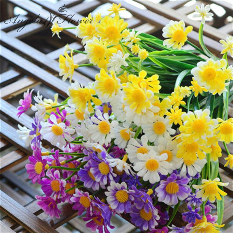 Cute 35 heads/bouquet color Daisy silk flower decorative plastic Wild flower artificial Aquatic plants sunflower home decoration(China (Mainland))