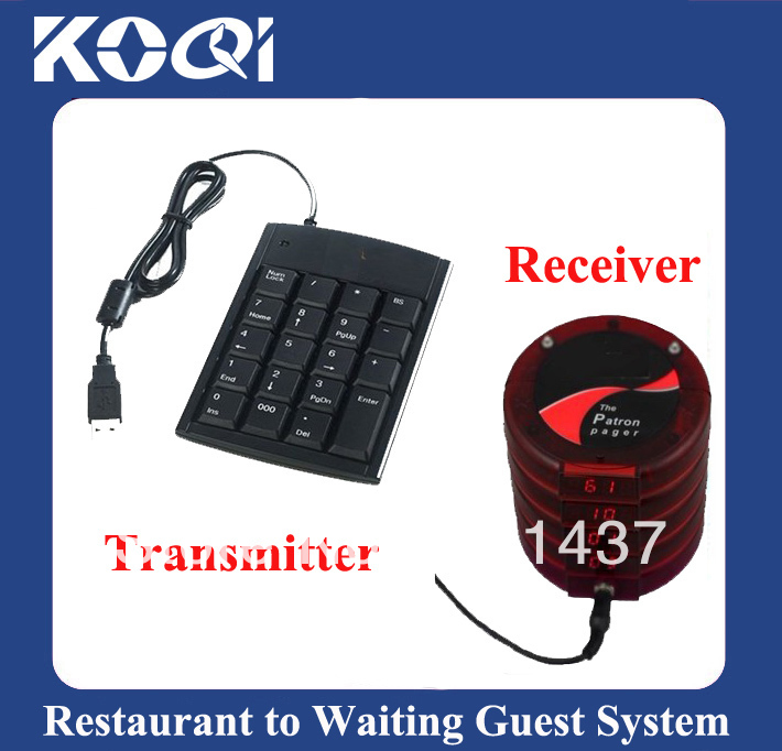 Queue management system for notifing customers their service is ready w 1 TKT100 single key transmitter and 5 KTP200 receiver(China (Mainland))