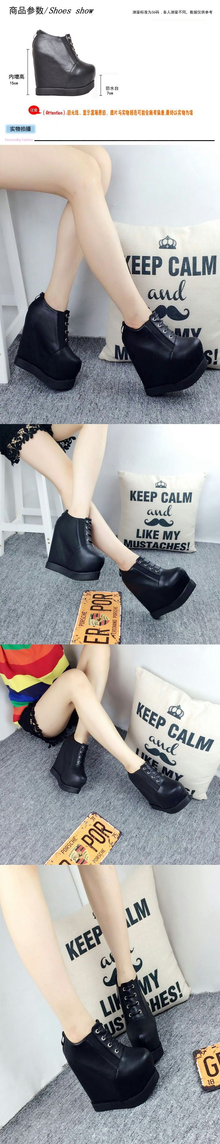 Korean Fashion Increase Height Motorcycle Boots 2016 New Platform High Heels Shoes Office Black Wedge Ankle Booties Women